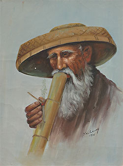 Unnamed of Bamboo Pipe Smoker by Y.W. Leung