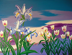 Iris and Tulip by the River Bank by Shun Lee
